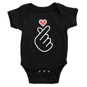 365 Printing Finger Heart Baby Bodysuit Gift Black Infant Jumpsuit Baby Gift