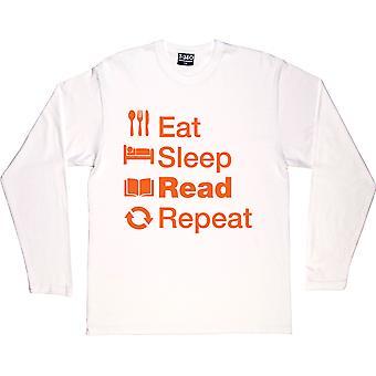 Eat Sleep Read Repeat White Long-Sleeved T-Shirt