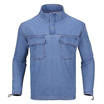 Allthemen Men's Casual Fashion 1980's Collar Denim Top Shirt
