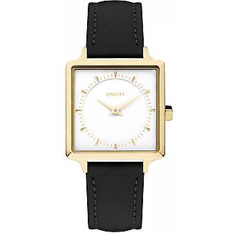 Watch Amalys DIANE - leather black case Carr Dor woman White Dial Steel Bracelet