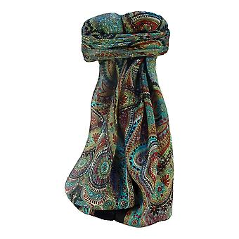 Mulberry Silk Traditional Square Scarf Kadri Black by Pashmina & Silk
