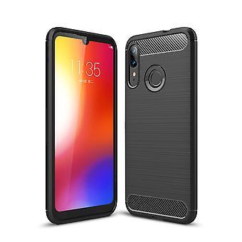 Motorola Moto E6 Plus TPU Case Carbon Fiber Optics Brushed Protective Sleeve Black