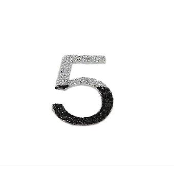 Silver & Black Glitter Number Sticker - Number 5