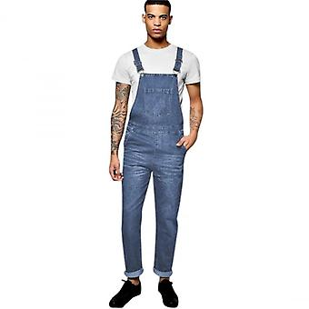 Island Trading Mens Blue Designer Denim Dungarees Dungaree Jeans Bib Overalls