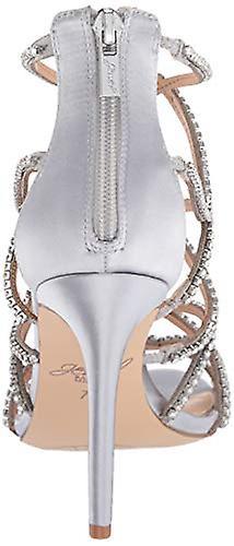 Jewel Badgley Mischka Kobiety's DELANCEY Sandała, srebrna satyna, 8,5 M USA kPEZj