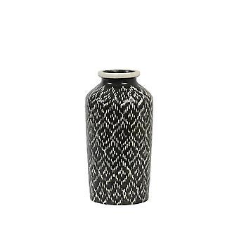 Ljus och levande vas Deco 14,5x28.5cm Elbas Keramik Svart och vitt