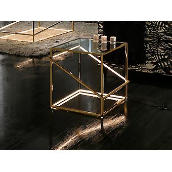 Schuller Moonlight - Coffee table with LED light integrated, made of polished stainless steel with gold plating finish. Clear tempered glass top of 10 mm. LED stripe hidden by white poycarbonate diffuser. LED stripe 18W, 3,000 K, 296 lm. G type plug. - 685216UK