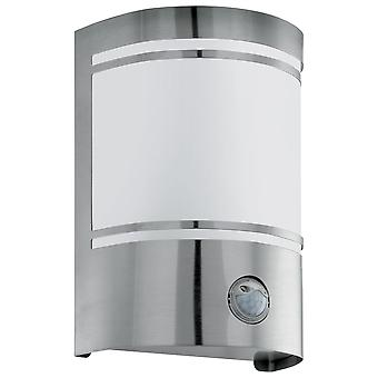 Eglo Cerno - 1 luz de pared al aire libre con sensor de movimiento PIR de acero inoxidable IP44 - EG30192