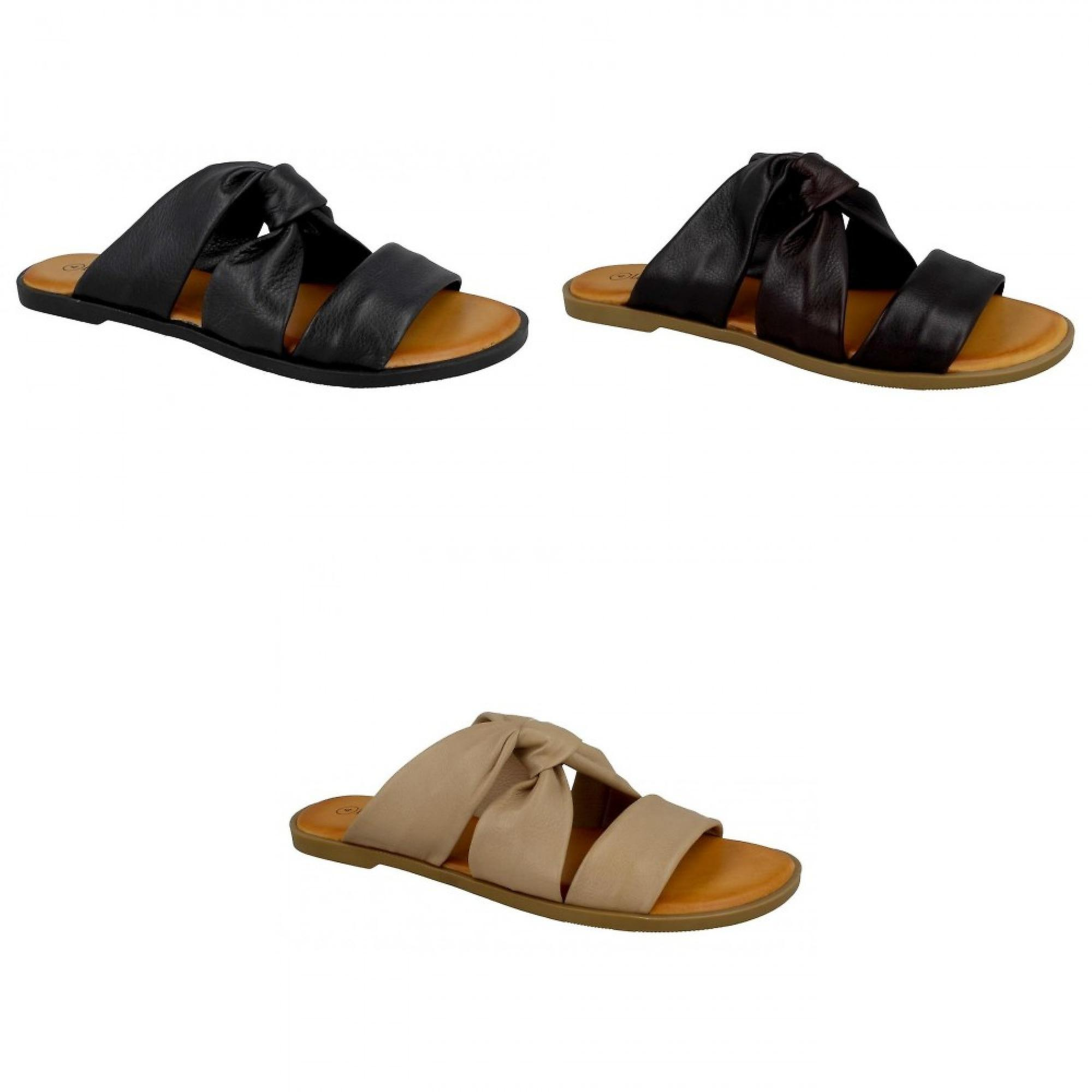 Leather Collection Womens/Ladies Leather Strappy Mules uNUXH