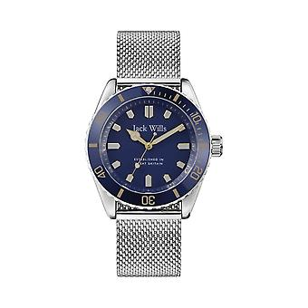 Jack Wills Watches Jw019mhbl Navy Blue & Silver Stainless Steel Mesh Men's Watch