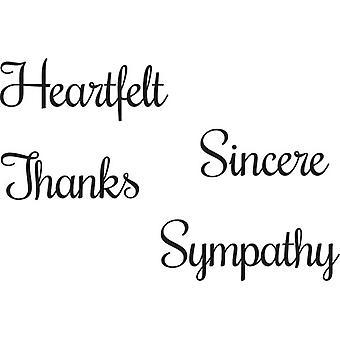 Woodware Just Words Heartfelt Sincere Thanks Sympathy Stamp Set