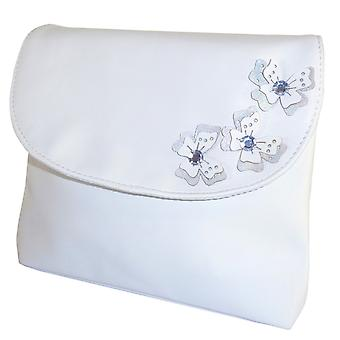 Childrens white handbag with butterfly tirms
