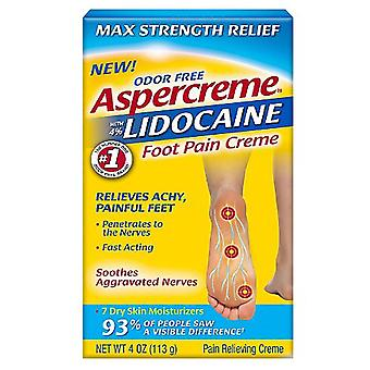 Aspercreme odor free max strength relief foot pain creme, 4 oz