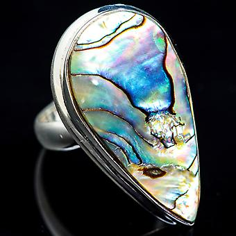 Large Abalone Shell Ring Size 6 (925 Sterling Silver)  - Handmade Boho Vintage Jewelry RING3432