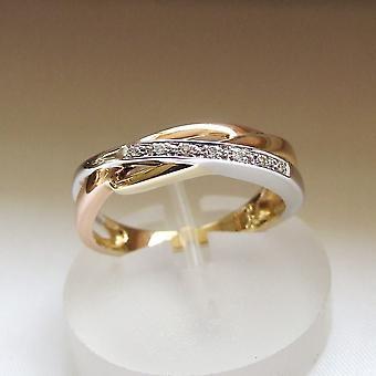 Gold Tricolor Ring mit Diamanten