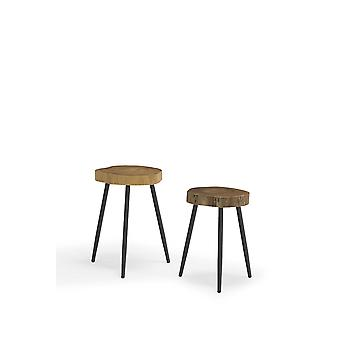 2 Piece Natural Teak Wood Side Table Set