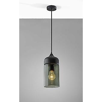 Black Wood and Cylindrical Smoked Glass Ceiling Pendant Lamp
