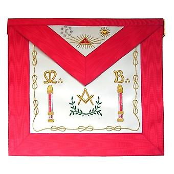 Masonic scottish rite apron - aasr - master mason - columns + moon and sun