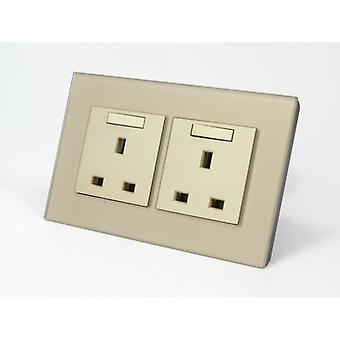 I LumoS AS Luxury Gold Crystal Glass Double Switched Wall Plug 13A UK Sockets