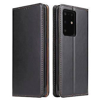 Für Samsung Galaxy S20 Ultra Fall Leder Flip Brieftasche Folio Cover Schwarz
