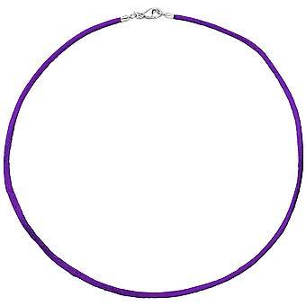 Kvinders halskæde silke lilla 2.8mm 42cm, lås 925 sølv kæde