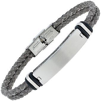 Bracelet leather grey braided with stainless steel matt 21 cm