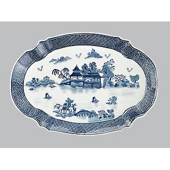 AA Importing 59714A Blue And White 18 Inch Platter