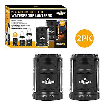 Milestone 2 Pack Ultra Bright LED Waterproof Camping Lantern Black