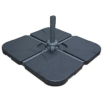 Charles Bentley Sturdy Support Premium Beton Sonnenschirm Regenschirm Base Square Design in 2 Segmenten in schwarz - 25kg pro Segment
