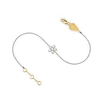 Armband Fee Blume 18K Gold und Diamanten, auf Faden - Gelbgold, weiß