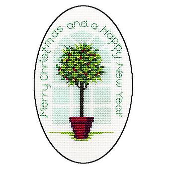 Derwentwater Designs Christmas Cross Stitch Card Kit - Holly Tree