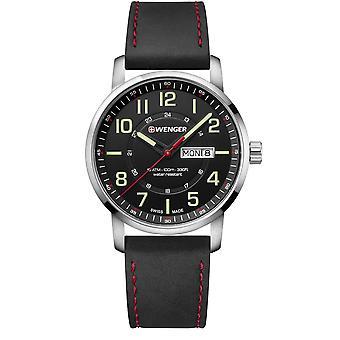 Wenger Attitude Quartz Black Dial Black Leather Strap Men's Watch 01.1541.101 RRP £139