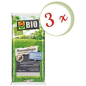 Sparset: 3 x COMPO BIO lawn fertilizer moss-no thank you!, 6 kg
