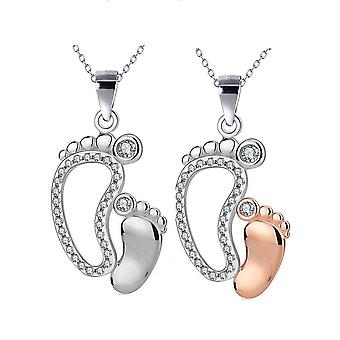 Mother & child cz footprints woman necklace