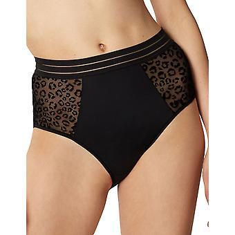 Maison Lejaby 19964-04 Femmes-apos;s Jungle Fever Black Knickers Panty Full Brief