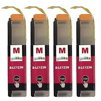4 Cartucce di inchiostro Magenta per sostituire Brother LC123M compatibile/non OEM da Go Inks