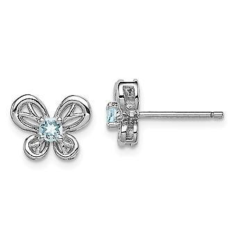925 Sterling Argent Poli Ouvert arrière Boucles d'oreilles Rhodium plaqué Boucles d'oreilles Aquamarine Bijoux Cadeaux pour femmes