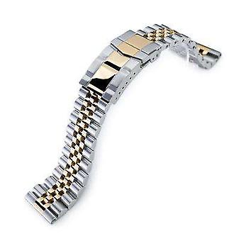 Strapcode watch bracelet 22mm super jubilee 316l stainless steel solid straight end watch band, two tone ip gold with 2t submariner clasp