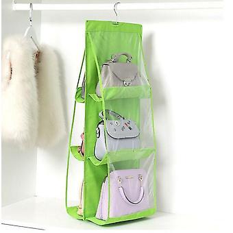 6 Pocket Folding Anti-dust Hanging Holder Hook Organizer Bag- Handbag Purse Storage Large Clear Hanger Rack Bag
