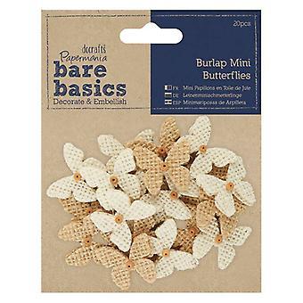Papermania Bare Basics Burlap Mini Butterflies (22pcs) (PMA 174868)