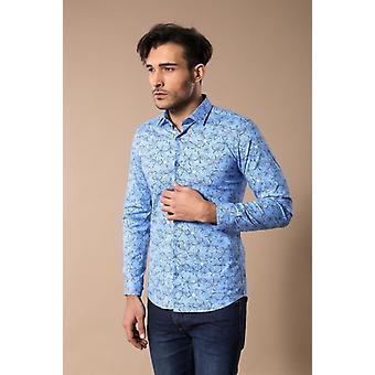 Camicia slimfit a motivi blu ghiaccio