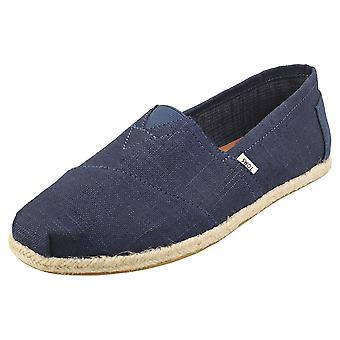 Toms Classic Linen Rope Sole Mens Espadrille Shoes in Navy