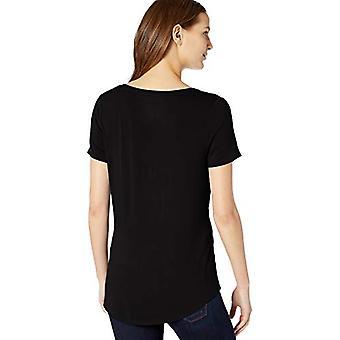 Essentials Women's Solid Short-Sleeve V-Neck Tunic, Black, XS