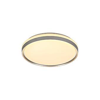 Luminosa Lighting - Flush Ceiling 39cm, 1 x 24W LED, 3 Trinn-Dimbar, 3000K, 1000lm, IP44, Sølv, Hvit Akryl