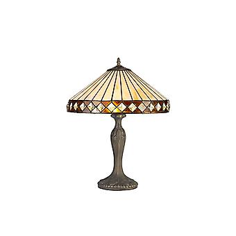 2 Light Curved Table Lamp E27 With 40cm Tiffany Shade, Amber, Crystal, Aged Antique Brass