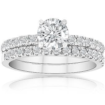 1 3/4 Ct Diamond Engagement Wedding Set 14k White Gold