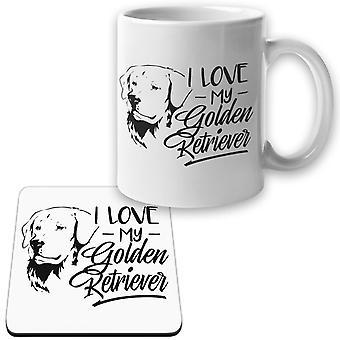 Golden Retriever Becher + Untersetzer Paket ich liebe Hund Set