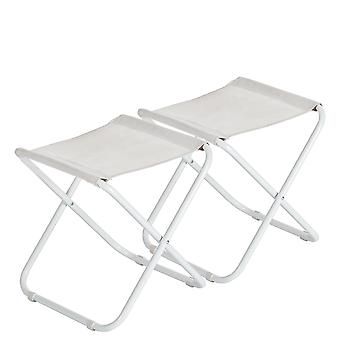 2 Piece Classic Folding Stool - Lightweight Material Practical Foldable Design - White