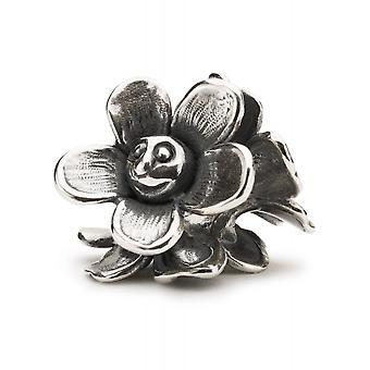 Trollbeads plata de ley alegre flor perla TAGBE-20215
