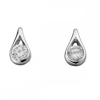 Beginnings Sterling Silver E205C Clear Teardrop Earrings